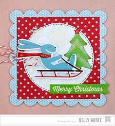 Christmas Card Inspiration created using our Peppermint Express collection. Design by Kelly Goree. #americancrafts #christmascards #christmascrafts