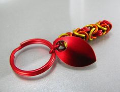 #Chainmaille #Keychain #Fire #Red #Orange and #Yellow by #scalemaille #Janabolic