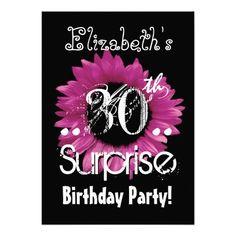 Pink Sunflower 30th Surprise Birthday Custom Name Custom Invitation