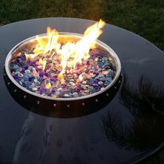 Wine Barrel Fire Pit Table Top for Outdoor & Indoor Use.