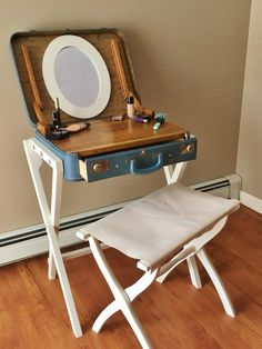 Suitcase Vanity, Makeup Table, Suitcase Table, Upcycled Suitcase Source by etsy Repurposed Furniture, Shabby Chic Furniture, Table Furniture, Furniture Design, Make Up Tisch, Makeup Table Vanity, Makeup Tables, Diy Vanity Table, Makeup Vanities