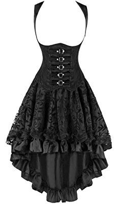 Kimring Women's 2 Pcs Steampunk Gothic Underbust Corset & Lace Dancing Skirt Set