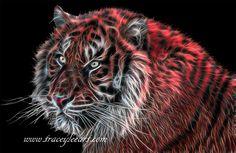 Red Fractal Tiger by Tracey Lee Art Designs Fractal Art, Fractals, White Charcoal, Art Blog, Art Designs, Fine Art America, Digital Art, Neon, Tigers