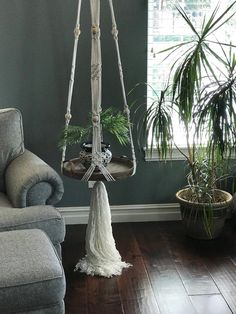 Excited to share this item from my shop: Macrame hanging table,macrame shelf,hanging table,floating shelf,macrame plant hanger Hanging Table, Hanging Plants, Diy Hanging, Hanging Terrarium, Unique Bedside Tables, Bedside Table Decor, Round Wood Tray, Boho Home, Macrame Projects