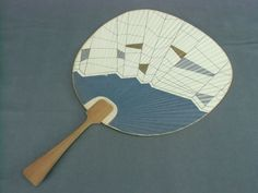 U12 Vintage Japanese Uchiwa Bamboo & Paper Fan Silver Edge #KyohokuNogyoKyodoKumiai