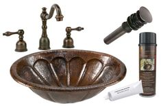 Premier Copper Products - BSP2_LO19RSBDB Bathroom Sink, Faucet and Accessories Package  #rustic #coppersink #bathroomsinkpackages