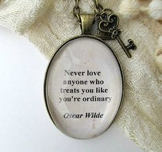 Oscar Wilde quote necklacevintage style pendant by WhimsyJig, €14.00