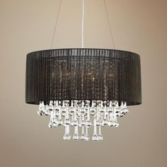 """Crystal and Chrome 23"""" Wide Sheer Black Chandelier"""