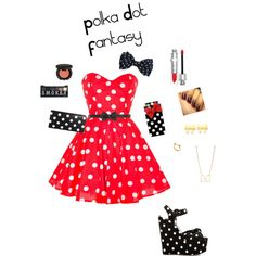 """""""Polka Dot Fantasy!"""" by fashionista262003 on Polyvore #IceCarats http://www.icecarats.com/14k-Bow-Post-Earrings-253390.aspx"""