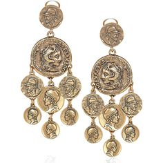 Oscar de la Renta 24-karat gold-plated coin clip earrings (1.080 BRL) ❤ liked on Polyvore featuring jewelry, earrings, accessories, orecchini, gold, women, coin jewelry, clip earrings, 24 karat gold earrings and gold coin jewelry