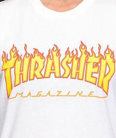 291cfe90094d0f Thrasher Flame Logo White Boyfriend Fit T-Shirt