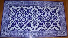 Cobalt-Blue-40-x24-Turkish-Iznik-Carnation-Pattern-Mural-Ceramic-Tile-Panel