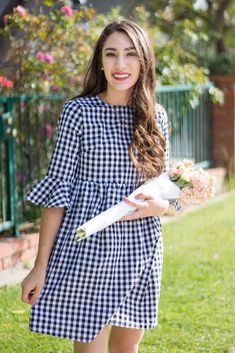spring gingham dress she in bell sleeves baby doll dress moos musing long brown curled hair Stylish Dresses, Simple Dresses, Pretty Dresses, Casual Dresses, Short Dresses, Fashion Dresses, Summer Dresses, Doll Dress Patterns, Frock Design