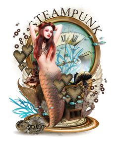 Steampunk Mermaid by runarei on Polyvore featuring art
