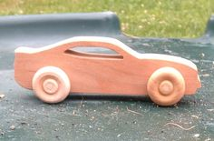 Wooden toy Chevy Camaro Car, Handmade on a scroll saw, cherry wood
