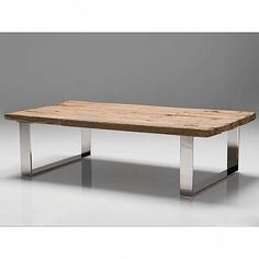 Provence Coffee Table-Reclaimed wood Top/Polished Stainless Steel/63X3...