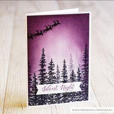 handmade Christmas card by Teneale (@teneale_w)  ... purple sky ... trees .... Santa with reindeer on his annual trek ... Stampin' Up!