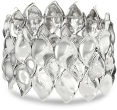 """Nine West """"Natural Beauty """" Silver-Tone Textured Wide Stretch Bracelet Nine West. $38.00. Made in  China. Made in CN"""