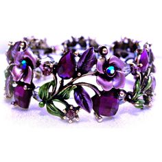 Purple Bracelet of Roses and Hearts Jewelry Design ($45) ❤ liked on Polyvore