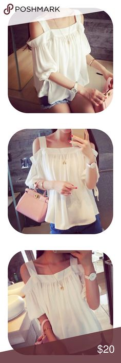 off shoulder strap white top Brand new with tag. One size fit the most. On trend off shoulder strap top Tops Blouses
