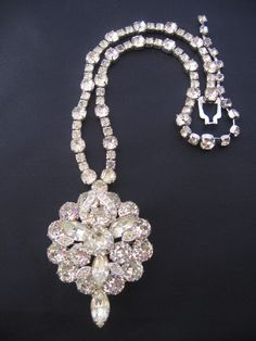 Rare Vintage Eisenberg Ice Necklace with Detachable Brooch Pendant