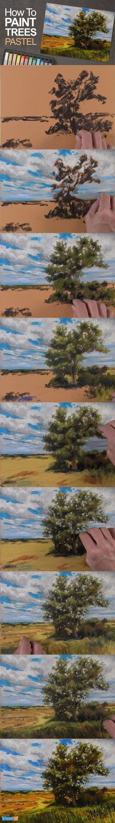 Learn how to paint a tree with pastels in this step by step painting lesson. #pastels #trees #howtopaint #howtodraw #artlesson #pastel