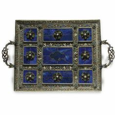 AN AUSTRIAN SILVER, LAPIS, ENAMEL AND GEM-SET TRAY, HERMANN BÖHM, VIENNA, CIRCA 1890