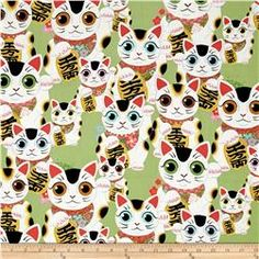 Alexander Henry Indochine Fuku Kitty Sage Fabric By The Yard Cool Diy Projects, Sewing Projects, Craft Projects, Alexander Henry Fabrics, Cat Fabric, Animal Alphabet, Indochine, Hand Painting Art, Novelty Print