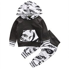 Baby Boys Girls Long Sleeve Feather Hoodie Top Pants Outfit Set 90 912 Month Grey -- Click image to review more details.Note:It is affiliate link to Amazon. #GirlsClothes