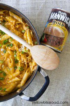 One Pot Cheesy Chicken Pasta - A one pot meal made with the bold flavors of Manwich for a delicious, quick and easy family favorite!