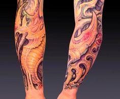Guy Aitchison : Tattoos : New : JJ, biomech sleeve detail shot