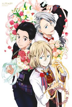 Yuri!!! on Ice (ユーリ!!! on ICE)  Yuuri, Yurio and Victor celebrate the finish with bouquets and fancy costumes in the new poster art for Animage Magazine (Amazon US | eBay) illustrated by key animator Tomoyo Sawada (澤田知世).