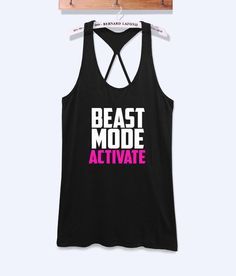 Beast mode activate fitness workout tank top with print -102