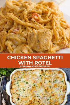 Rotel Chicken Spaghetti, Cheesy Chicken Pasta, Chicken Recipe With Rotel, Recipe For Chicken Spaghetti Bake, Recipes With Rotel, Recipes With Boiled Chicken, Chicken Carbonara Pasta, Healthy Chicken Spaghetti, Gourmet