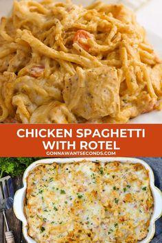 Chicken Spaghetti Casserole, Chicken Spaghetti Recipes, Chicken Recipes, Cheesy Chicken Pasta, Chicken Recipe With Rotel, Chicken Spaghetti With Rotel, Recipes With Rotel, Chicken Carbonara Pasta, Gourmet