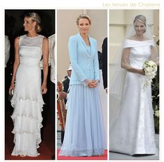 Her Serene Highness Princess Charlene of Monaco's wedding gowns. Left to right gown/ensemble worn at: wedding evening; civil wedding; church wedding.