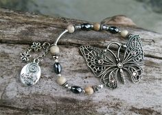 Pewter Butterfly charm bracelet with Fossil Coral, Hemalyke and Sterling Silver Accents