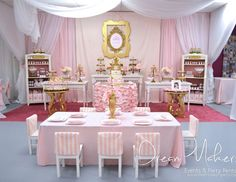 "Princess / Birthday ""Princess Pink & Gold Birthday"" | Catch My Party"
