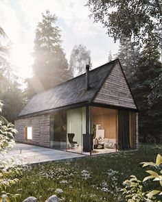Mountain Cottage ♥ Render by Are you looking for a support for your interior and and architectural visuals ?… Mountain Cottage ♥ Render by Francesco Stefanizzi Are you looking for a support for your interior and and architectural visuals ? Modern Tiny House, Tiny House Cabin, My House, Casas Containers, Mountain Cottage, Wood Interior Design, Weekend House, Cabin Design, Cabins In The Woods