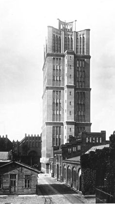 Archival image of the Borsigturm tower - Berlin's first high rise, completed in 1925