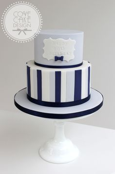 Blue And Navy Stripe Male Birthday Cake 80th For Men Adult Cakes