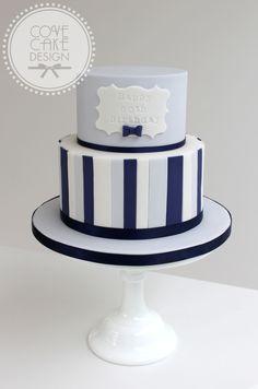 Blue and navy stripe male birthday cake