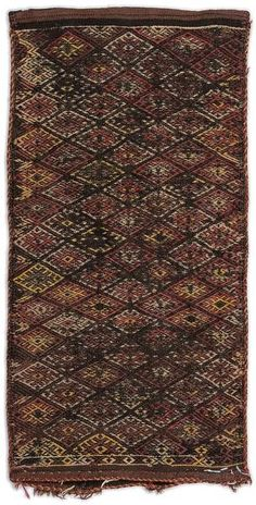Striped Over Dyed Kilim Rug 1'8'' x 3'5'' ft 52 x 104 cm