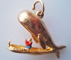Vintage 9ct Gold Jonah and The Whale Charm Opens