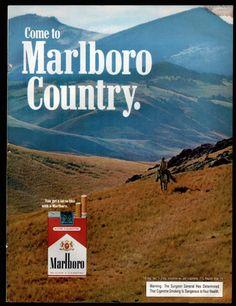 1972 MARLBORO MAN CIGARETTES AD Cowboy riding in high country