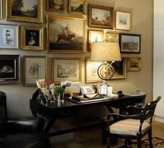 WALL BEHIND BED-gold-framed gallery wall, elegant traditional workspace Organisation Des Photos, Picture Arrangements, Picture Groupings, Picture Frames, English Country Decor, French Country, British Country, French Cottage, English Interior