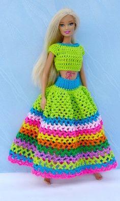 Crochet Barbie Patterns, Crochet Doll Dress, Barbie Clothes Patterns, Crochet Barbie Clothes, Doll Clothes Barbie, Doll Dress Patterns, Dress Barbie, Knitting Dolls Clothes, Creations