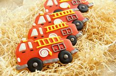 Decorated Fire Truck Fire Engine Theme Cookies by SugaryCharm