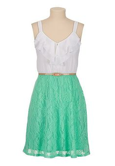 Belted lace skirt chiffon ruffle top Dress (original price, $44) available at #Maurices
