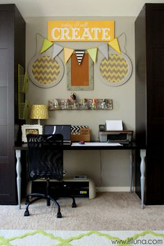 The pops of yellow in @Kristyn Fitzgerald Fitzgerald {lilluna.com}'s office makeover make the space for me! What a bright and upbeat place to work from! /ES